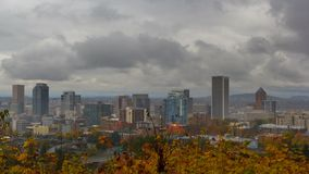 UHD 4K Timelapse movie of thick dark moving clouds over downtown cityscape of Portland Oregon one stormy autumn fall day stock video