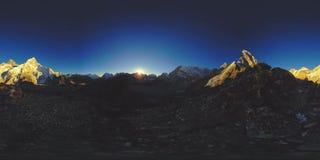 UHD 4K 360 VR of Mount Everest golden sunset time lapse. The sunlight on the peak