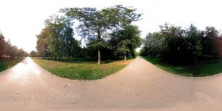 UHD 4K 360 VR Virtual Reality of a city park recreation area. Trees and green grass at autumn or summer day. Path and sun rays stock footage