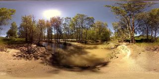 UHD 4K 360 VR Virtual Reality of a river flows over rocks in beautiful mountain forest landscape. 4K 360 VR Virtual Reality of a river flows over rocks in this stock footage
