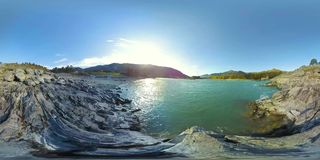 UHD 4K 360 VR Virtual Reality of a river flows over rocks in beautiful mountain landscape stock video footage