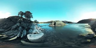 UHD 4K 360 VR Virtual Reality of a river flows over rocks in beautiful mountain landscape stock footage