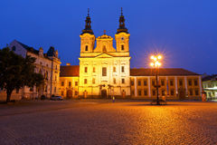 Uherske Hradiste, Czech Republic. Church in the main square of Uherske Hradiste early in the morning Royalty Free Stock Image