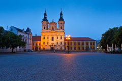 Uherske Hradiste, Czech Republic. Church in the main square of Uherske Hradiste early in the morning Stock Images
