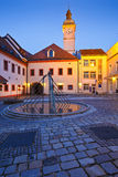 Uherske Hradiste, Czech Republic. Old town hall of Uherske Hradiste as seen from its yard early in the morning Stock Photography