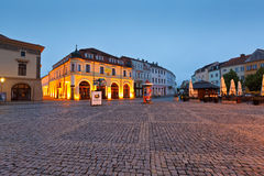 Uherske Hradiste, Czech Republic. Shops in the main square of the old town of Uherske Hradiste early in the morning Royalty Free Stock Photos