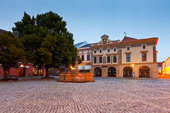 Uherske Hradiste, Czech Republic. Shops in the main square of the old town of Uherske Hradiste early in the morning Stock Images