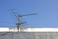 UHF Antenna on building Apartment Stock Image