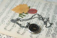 Uhr auf musikalischen Anmerkungen Stockbild