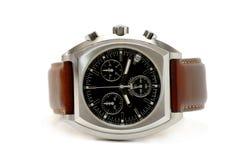 Uhr - braunes Leder lizenzfreies stockfoto