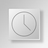 Uhr 3D Gray Square Object Symbol Concept Stockfotografie