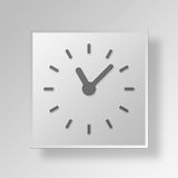 Uhr 3D Gray Square Object Symbol Concept Stockfotos