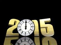 Uhr des neuen Jahr-2015 Stockbilder