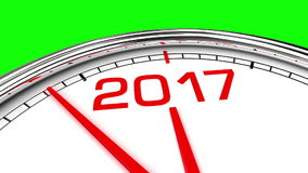 Uhr des neuen Jahr-2017 (grüner Schirm) stock video footage