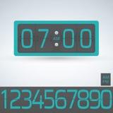 Uhr des Wand- oder Tabellenleichten schlages, Zahlgegenschablone, alle Stellen gebrauchsfertig stock abbildung