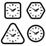 Uhr-Ikonen-, Quadrat-, Hexagon-, Dreieck-und Kreis-Formen, Vektor Lizenzfreie Stockfotografie