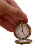 Uhr im Arm. Zeitkonzept Stockbild