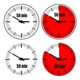 Uhr 50-Minute-Ikone stock abbildung