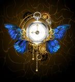 Uhr mit blauen Schmetterlingsflügeln vektor abbildung