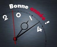 Uhr mit Bonne-annee Jahr 2014 Lizenzfreie Stockfotografie