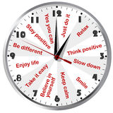 Uhr mit den Motiv- und positiven denkenden Mitteilungen Lizenzfreies Stockbild