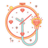 Uhr mit Diamanten Lizenzfreies Stockfoto