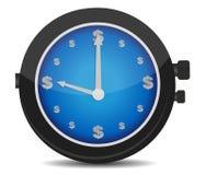 Uhr mit einem Dollarzeichen auf der Vorwahlknopfabbildung Lizenzfreies Stockfoto