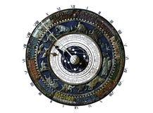 Uhr mit Konstellationskarte Stockfoto