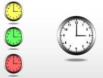 Uhr, mit Metallrahmen stock abbildung