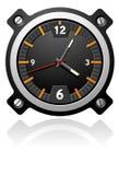 Uhr mit schwarzem Vorwahlknopf lizenzfreie abbildung