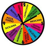 Uhr mit verschiedenen Pizzanamen Lizenzfreie Stockfotografie