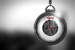 Uhr mit Zeit-rotem Text auf ihm Gesicht Abbildung 3D Stockfotografie
