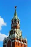 Uhr Moskaus der Kreml des Spasskaya-Turms Stockfotografie