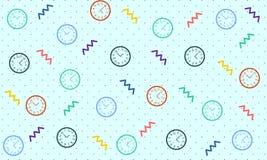 Uhr-Muster mit Memphis Style - Vektor lizenzfreie abbildung