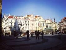 Uhr quadratisches Prag Stockbild