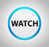 Uhr ringsum blauen Druckknopf stock abbildung