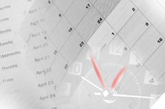 Uhr und Kalender lizenzfreie stockbilder