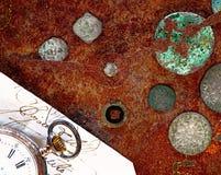Uhr- und Münzenstillleben Lizenzfreie Stockfotografie