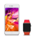 Uhr und Smartphones mit leerem Bildschirm Lizenzfreie Stockfotografie
