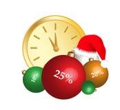 Uhr- und Weihnachtsdekorationen Stockfotos