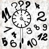 Uhr und Zahlen auf einem weißen Hintergrundschmutzeffekt vector Illustration Stockbild