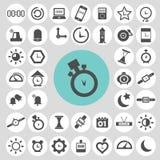 Uhr und Zeitikonensatz Lizenzfreie Stockfotos