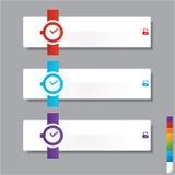 Uhrfahnen Schablone oder Websiteplan Vektor Abbildung Stockfotos