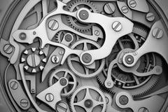 Uhrmaschinerie mit Gänge Grayscale Stockfotos