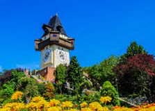 Uhrturm, clock tower on hill Stock Photo