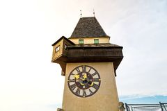 Uhrturm Clock Tower in Schlossberg Royalty Free Stock Images