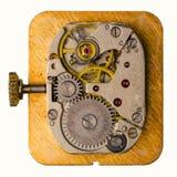 Uhrwerk auf weißem Hintergrund Lizenzfreie Stockfotos