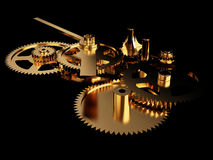 Uhrwerk-Gold Stockfotografie