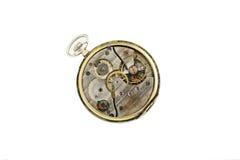 Uhrwerkdetails, Zahntriebe und Radmakronahaufnahme lokalisiert auf Weiß Lizenzfreie Stockbilder