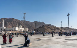 Uhud山是一个伊斯兰教的历史的历史地方 免版税库存图片